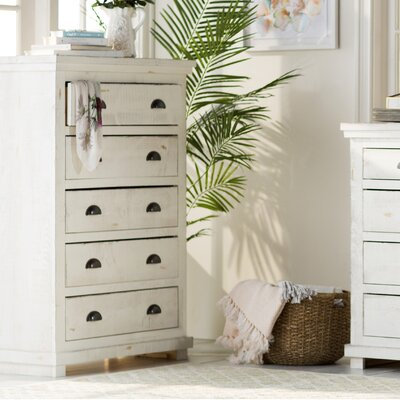Castagnier 5 Drawer Chest Finish: Distressed White