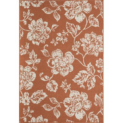 Sofie Orange/White Indoor/Outdoor Area Rug Rug Size: 53 x 76