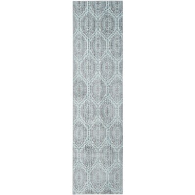 Longeville Gray/Baby Blue Area Rug Rug Size: Runner 23 x 8