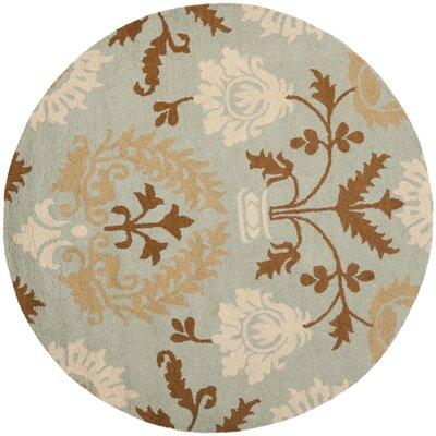 Ela Blue Floral Area Rug Rug Size: Round 6