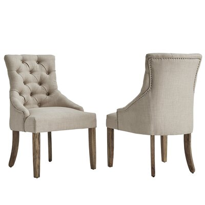 Agnes Curved Back Tufted Side Chair Upholstery: Beige