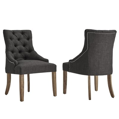 Agnes Curved Back Tufted Side Chair Upholstery: Dark Gray
