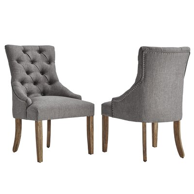 Agnes Curved Back Tufted Side Chair Upholstery: Gray