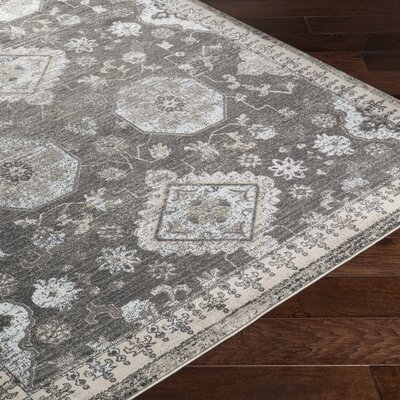 Riviere Gray/Ivory Area Rug Rug Size: 52 x 76