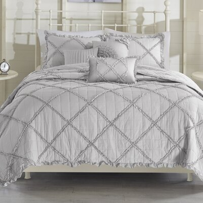 Cotton 6 Piece Coverlet Set Size: King/California King, Color: Gray