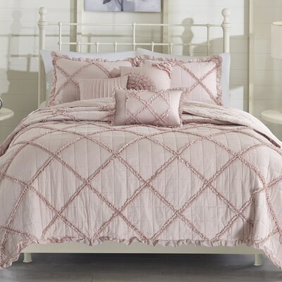 Cotton 6 Piece Coverlet Set Size: King/California King, Color: Pink