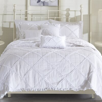 Cotton 6 Piece Coverlet Set Size: Full/Queen, Color: White