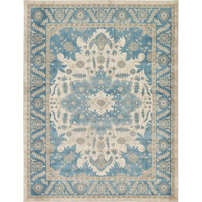 Adam Cream/Blue Area Rug Rug Size: 9 x 12