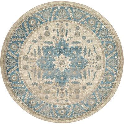 Adam Cream/Blue Area Rug Rug Size: Round 8