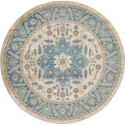 Adam Cream/Blue Area Rug Rug Size: Round 6