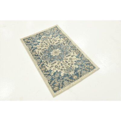 Adam Cream/Blue Area Rug Rug Size: Square 8