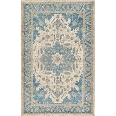 Adam Cream/Blue Area Rug Rug Size: 5 x 8