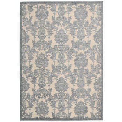 Bacourt Ivory/Light Blue Area Rug Rug Size: 53 x 75