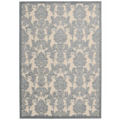 Bacourt Ivory/Light Blue Area Rug Rug Size: 36 x 56