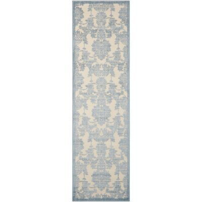 Bacourt Ivory/Light Blue Area Rug Rug Size: 53 x 75