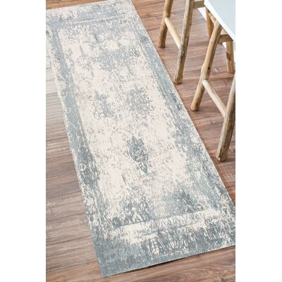 Chartres Hand-Woven Blue Area Rug Rug Size: Runner 26 x 8