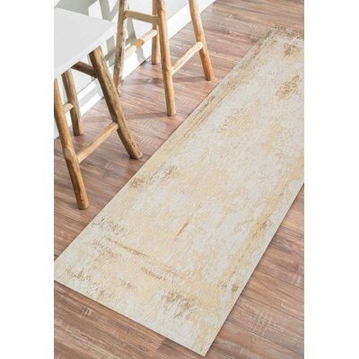 Chartres Hand-Woven Cream Area Rug Rug Size: Runner 26 x 8