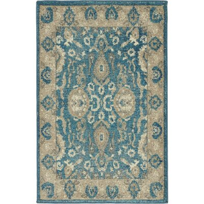 Luella Blue / Brown Area Rug Rug Size: Round 73