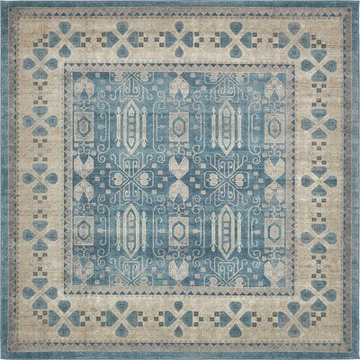 Luella Blue/Brown Area Rug Rug Size: Square 8