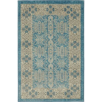 Luella Blue/Brown Area Rug Rug Size: Round 73