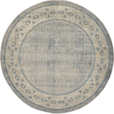 Brierfield Gray Area Rug Rug Size: Round 6