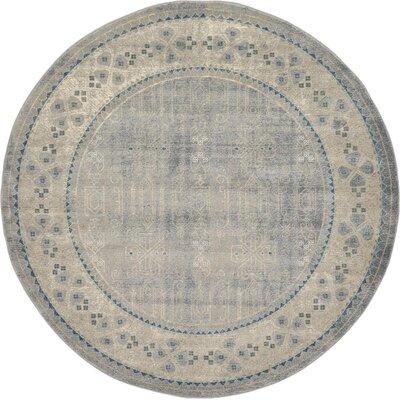 Jaiden Gray Area Rug Rug Size: Round 8