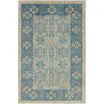 Luella Beige/Blue Area Rug Rug Size: 2 x 3
