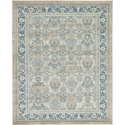 Luella Beige/Blue Area Rug Rug Size: 5 x 8