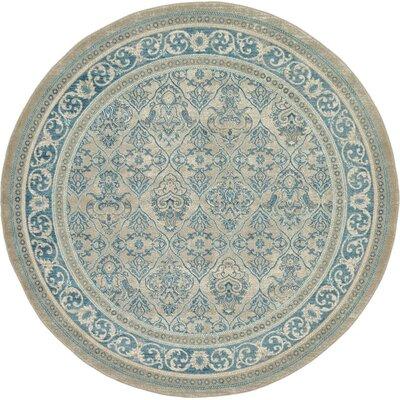 Luella Beige/Blue Area Rug Rug Size: Round 7