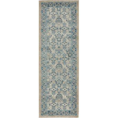 Luella Beige/Blue Area Rug Rug Size: 2 x 6