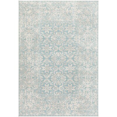 Velay Teal Blue/Beige Area Rug Rug size: 54 x 78