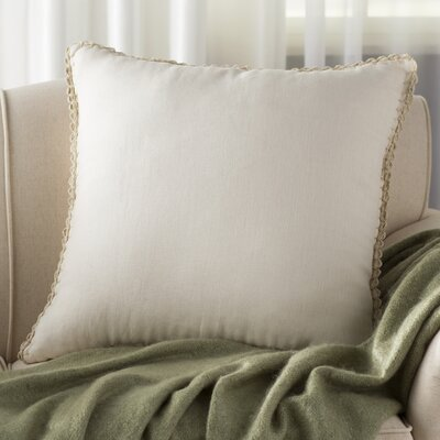 Guerrette Linen Throw Pillow Size: 20 H x 20 W x 4 D, Color: Beige/Khaki, Filler: Down