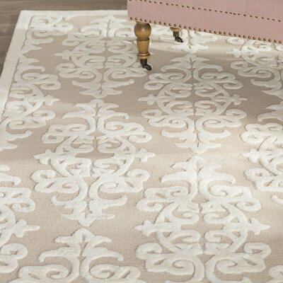 Dickinson Hand-Tufted Sand/Ivory Area Rug Rug Size: Rectangle 5 x 8