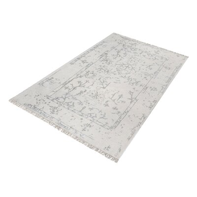 Silene Hand-Knotted Antique Ivory/Silver Area Rug Rug Size: 3' x 5'