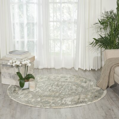Menthe Gray/Ivory Area Rug Rug Size: Round 53