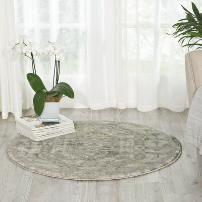 Menthe Gray/Ivory Area Rug Rug Size: Round 34