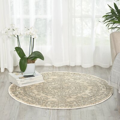 Angelique Bone Area Rug Rug Size: Round 34