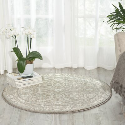 Angelique Gray Area Rug Rug Size: Round 3'4