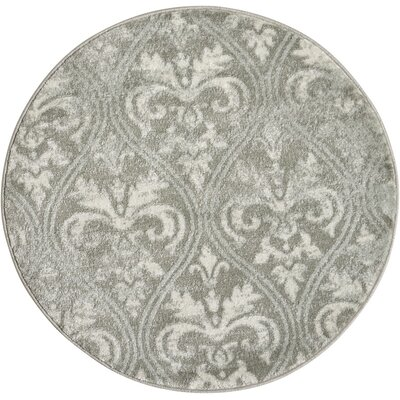 Angelique Neutral Gray Area Rug Rug Size: Round 34