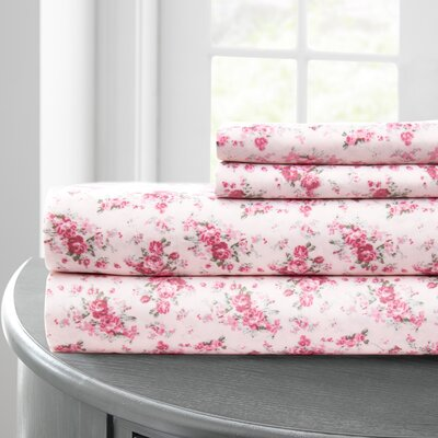 Bernard Printed Microfiber 4 Piece Sheet Set Rose Bouquet Size: Full, Color: Pink