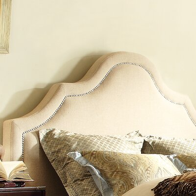 Carver Upholstered Panel Headboard Size: Full, Upholstery: Beige