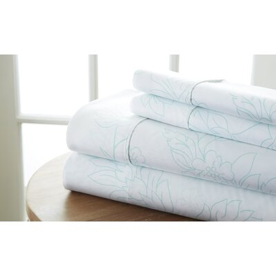 Ivana Vine Sheet Set Color: Aqua, Size: Twin
