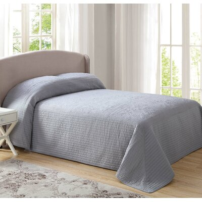 Beaucaire Tile Bedspread Size: King, Color: Gray