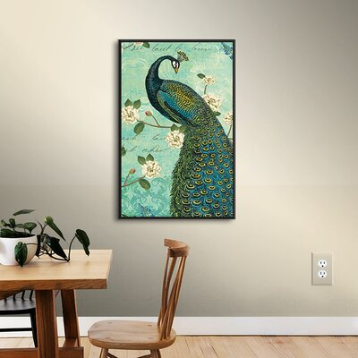 Peacock Arbor IV Framed Graphic Art on Wrapped Canvas Size: 08'' x 12''