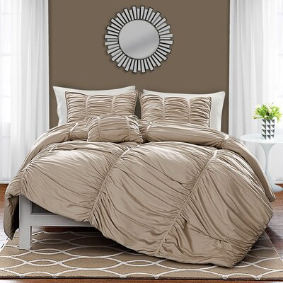 Remi 4 Piece Comforter Set Size: Queen, Color: Taupe