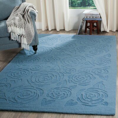 Block Rose Hand-Loomed Thistle Blue Area Rug Rug Size: Round 4