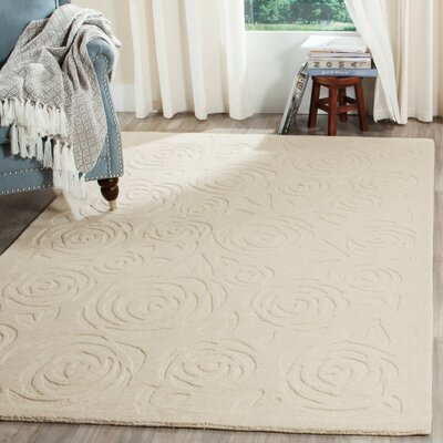 Block Rose Hand-Loomed Beige Area Rug Rug Size: 4 x 6