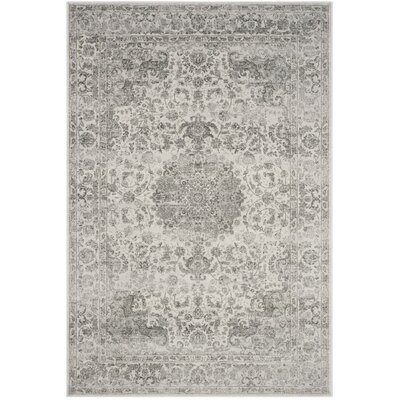 Akron Creek Cream/Dark Gray Area Rug Rug Size: 51 x 76