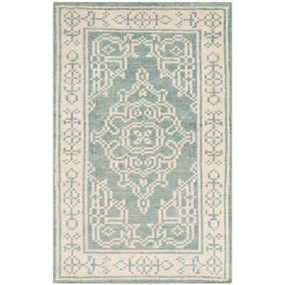 Ellisburg Hand-Knotted Ivory/Blue Area Rug Rug Size: Rectangle 2 x 3