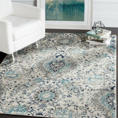 Grieve Cream/Light Gray Area Rug Rug Size: Runner 23 x 16